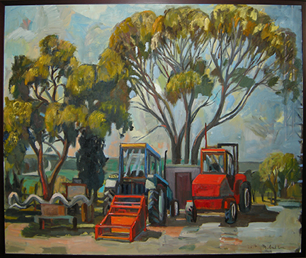 "Photo of Michael Kovner's painting ""Two Tractors in Gal On."" Artwork depicts and outside scene with trees and two tractors."