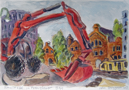"Photo of Helen Berggruen's painting ""Baustelle in Prenzlauer Berg."" Artwork depicts vibrantly colored construction site with a red backhoe and buildings."