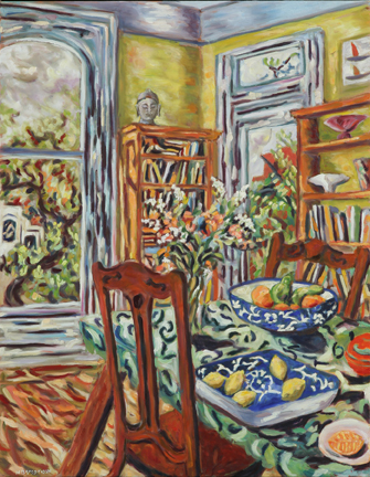 "Photo of Helen Berggruen's painting ""Fruit Bowls."" Artwork depicts a vibrantly colored interior scene with a  dinning table with food, chairs, bookcases and a window."