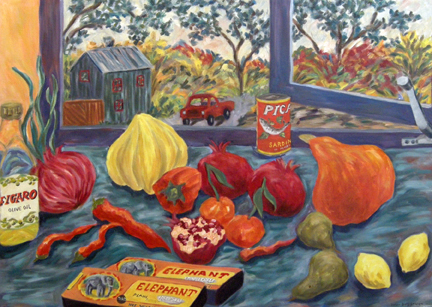 "Photo of Helen Berggruen's painting ""Plain Vermicelli."" Artwork depicts pasta bozes and vibrantly colored fruit and vegetables in front of a window."