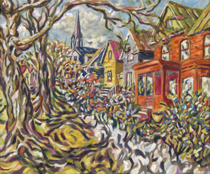 "Photo of Helen Berggruen's painting ""Vernal Equinox."" Artwork depicts an outside scene of barren trees and houses with a church steeple in the distance."