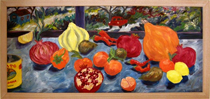 "Photo of Helen Berggruen's painting ""Windowsill.""  Artwork depicts vibrantly colored fruit and vegetables on a windowsill."
