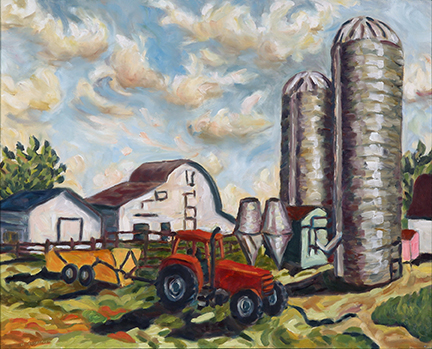 "Photo of Helen Berggruen's painting ""Yellow Trailer.""  Artwork depicts a farm scene with buildings, 2 silos, and a red tractor pulling a yellow trailer."