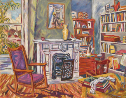 "Photo of Helen Berggruen's painting ""Seven.""  Artwork depicts a vibrantly colored interior scene with a rocking chair, fireplace and bookshelves."