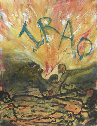 "Photo of Lawrence Ferlinghetti's painting, ""Elegy for the Iraqi People.""  Artwork depicts a war scene with explosion and bodies,  ""Iraq"" is written above."