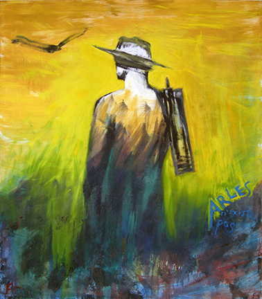 "Photo of Lawrence Ferlinghetti's painting, ""Van Gogh #2.""  Artwork depicts a person from behind, in a hat with something over their shoulder, watching a bird fly. ""Arles"" is written to the side."