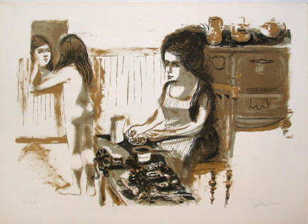 "Photo of Ruth Gikow's lithograph ""Girl in Kitchen.""  Artwork depicts a woman in an apron seated at a table preparing food, while in the left background a nude girl looks in a mirror."