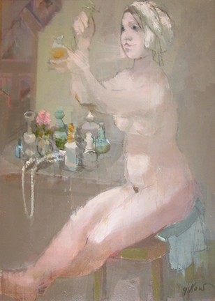 "Photo of Ruth Gikow's painting ""Bottles of Perfume.""  Artwork depicts a nude woman at a dressing table spraying perfume."