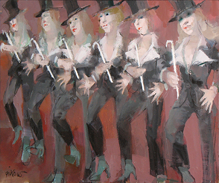 "Photo of Ruth Gikow's painting ""The Chorus.""  Artwork depicts a row of chorus dancers wearing black suits with top hat and canes.  Background is red."
