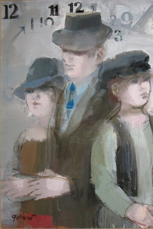 "Photo of Ruth Gikow's painting ""Time Passes."" Artwork depicts a man, woman, and child, all wearing hats with numbers above in the background."