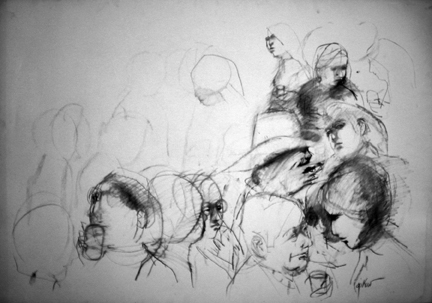 "Photo of Ruth Gikow's drawing ""Unitled Drawing 6.""  Artwork depicts a rough sketch of a crowd of people - torsos & heads.  Those in foreground and to the right side are more developed with a white hat prominent."
