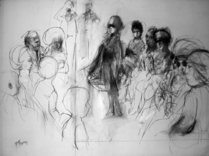 "Photo of Ruth Gikow's drawing ""Untitled Drawing 7."" Artwork depicts a circle of people some standing, some sitting.  Those to the right of center are more developed."
