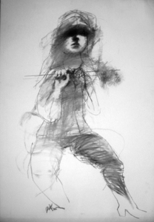 "Photo of Ruth Gikow's drawing ""Untitled Drawing 5."" Artwork depicts a mostly rough sketch of a female partially crouched with one hand to the left more developed and eyes fully shaded."