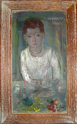 "Photo of Ruth Gikow's painting ""Untitled (Woman with Earrings at table)."" Artwork depicts a woman in a white top with drop earrings at a dinning table."