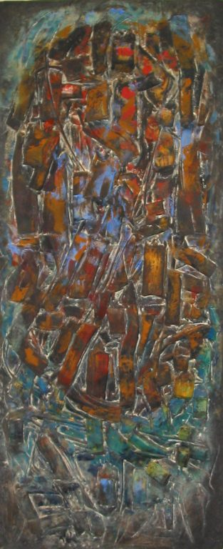 """Photo of John Haley's sculpture """"Door #2"""". Artwork depicts panel with abstract shapes melded together. Colors are mottled together with an oval of mostly red and brown surrounded by green and blue."""