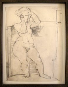 "Photo of John Haley's pencil drawing ""Nude I."" Artwork depicts a pencil sketch of a nude female with her hands held up to her face."