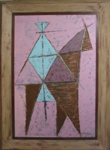 "Photo of John Haley's painting ""Tethered."" Artwork depicts an abstract blue person on a brown horse with a pink background."