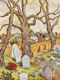 "Photo of Helen Berggruen's painting ""Hampstead Churchyard, London.""  Artwork depicts a graveyard - headstones with barren trees."