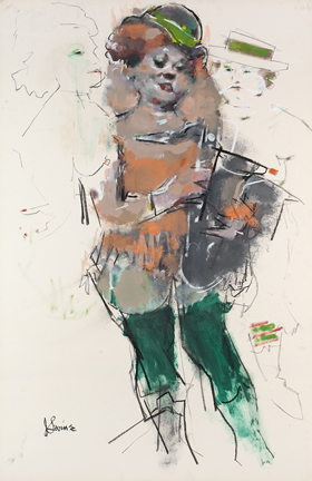 """Photo of Jack Levine's mixed media artwork """"All Girl Band.""""  Artwork depicts a woman partially painted with partial sketches of women to each side of her."""