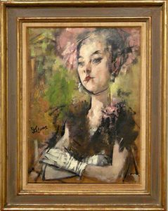 """Photo of Jack Levine's painting """"Girl in the Pink Hat."""" Artwork depicts a woman wearing white gloves and a pink hat."""