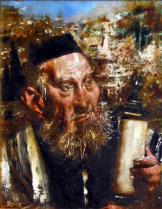 """Photo of Jack Levine's painting """"In the Valley of Kidron."""" Artwork depicts a Rabbi holding Torah scrolls."""