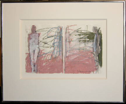 "Photo of Manuel Neri's diptych of oil stick, charcoal and graphite ""Majic Act No. 67.""  Artwork depicts an abstract nude female figure standing with a background of pink, green and grey."