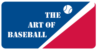 "Graphic logo with a baseball and bat and the words ""The Art of Baseball."" In red, blue and white."