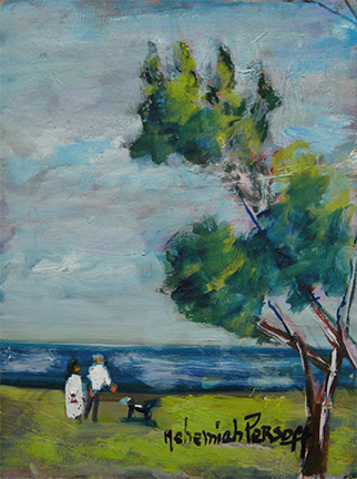 "Photo of Nehemiah Persoff's painting ""Couple at the Beach.""  Artwork depicts two figures on a grassy beach by the water with a tree to the right."