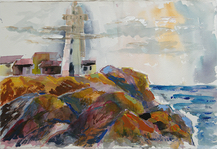"Photo of Nehemiah Persoff's painting ""Piedros Blanca Lighthouse."" Artwork depicts a lighthouse on a cliff above the ocean."