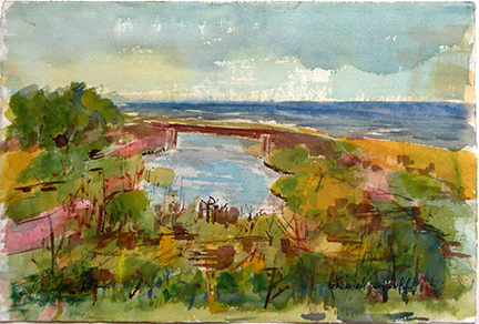 "Photo of Nehemiah Persoff's painting ""Ragged Point.""  Artwork depicts an outside scene of land with greenery near the ocean with a small bridge over an inlet."