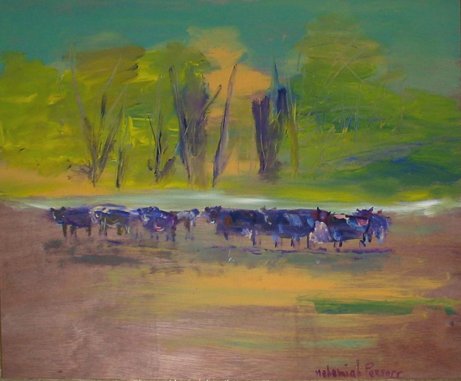 "Photo of Nehemiah Persoff's painting ""San Simeon Creek Road.""  Artwork depicts herd of cows in front of trees."