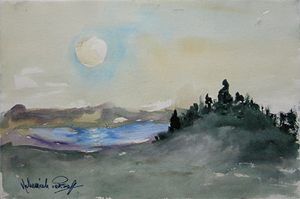 "Photo of Nehemiah Persoff's painting ""Solstice Moon.""  Artwork depicts a hillside with water in the distance and a moon in the sky.  Dark and muted colors indicate nighttime."