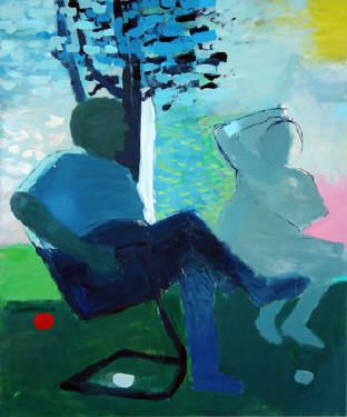 """Photo of Kevin Bean's painting """"Sunday Afternoon."""" Artwork depicts 2 people sitting outside."""