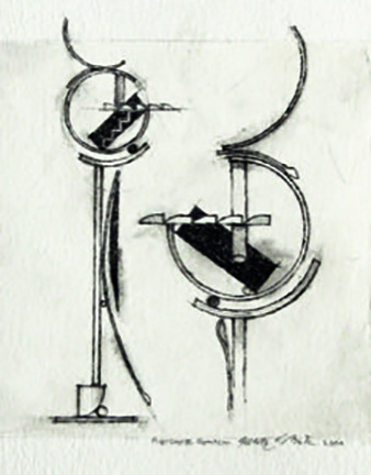 """Photo of Fletcher Benton's drawing """"Steel Watercolor Indian No. 15 Drawing."""" Artwork depicts Benton's plans for a sculpture shown from two perspectives."""
