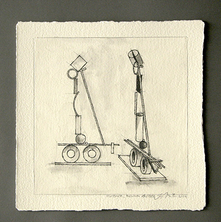 """Photo of Fletcher Benton's drawing """"Wheels I Drawing."""" Artwork depicts a study for a sculpture with various shapes vertically balanced upon two wheels."""