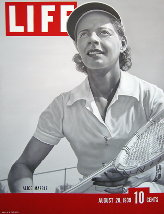 """Photo of Jeffrey Browning painting """"Courting Danger.""""  Artwork depicts tennis player and spy Alice Marble on the cover of Life Magazine."""