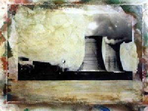 "Photo of Stacey Carter's ink, acrylic and watercolor ""Three Mile Island."" Artwork depicts a photorealistic view of the nuclear power plant with cooling towers and billowing steam."