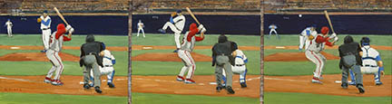 "Photo of David Cooke's painting ""Fast Ball Up & Over."" Artwork depicts a sequence of a pitch in three stages from perspective of behind the umpire."