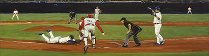 "Photo of David Cooke's painting ""Scoring on a Wild Pitch."" Artwork depicts a player sliding home as the catcher reaches forward. The Umpire and batter watch from the side."