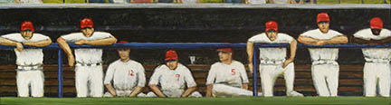 "Photo of David Cooke's painting ""Watching for Talent."" Artwork depicts players in dugout watching the game."