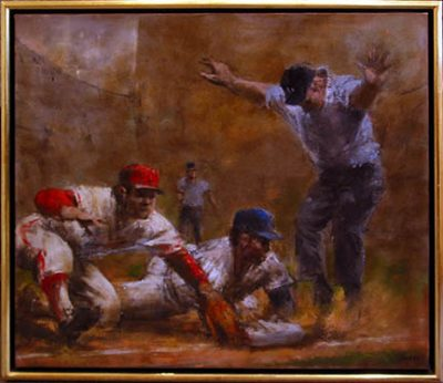 """Photo of John Dobb's painting """"Play at Third."""" Artwork depicts player in a blue cap sliding in while player in a red cap reaches glove to the base. Umpire has arms outstretched."""