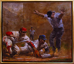 "Photo of John Dobb's painting ""Play at Third."" Artwork depicts player in a blue cap sliding in while player in a red cap reaches glove to the base. Umpire has arms outstretched."