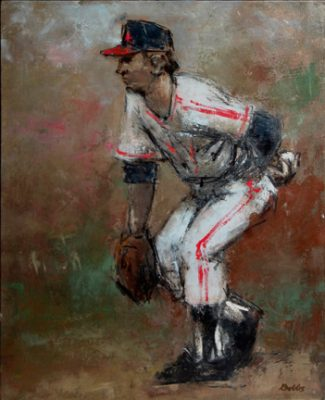 """Photo of John Dobb's painting """"Homage to the Southpaw."""" Artwork depicts a left handed pitcher preparing to throw."""