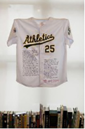 "Photo of Barry Gifford's ""Mark McGwire Jersey."" Artwork is an Oakland A's jersey for McGwire, number 25, with a poem about McGwire written on it."