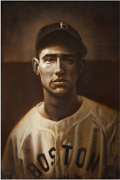 "Photo of Eric Grbich's painting ""Ted Williams, Rookie."" Artwork depicts a young Ted Williams in his Boston jersey from the chest up. Colors mimic sepia toning."