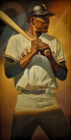 "Photo of Eric Grbich's painting ""Willie Mays."" Artwork depicts Willie Mays from the knees up with bat in hand and over his shoulder, batting helmet on. Colors are muted and his legs are shadowed."