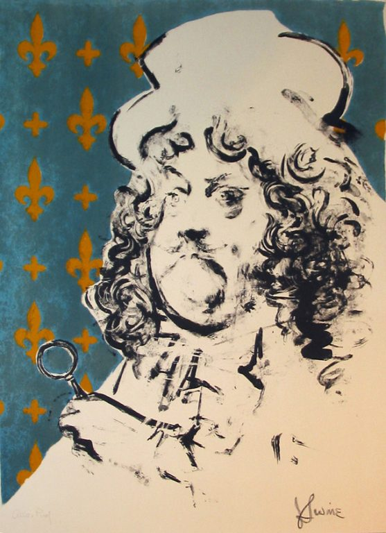 """Photo of the Jack Levine color lithograph """"The Art Lover."""" Artwork depicts a frowning overweight Louis XIV. The background is blue with a gold fleur-de-lis design."""