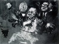"""Photo of Jack Levine's etching """"Daley Gesture."""" The artwork depicts Richard Daley, Mayor of Chicago at the 1968 Democratic Convention. He is making his now-famous gesture--running one finger across throat."""