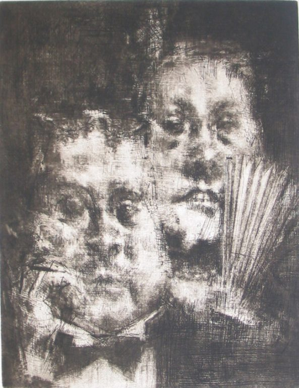 """Photo of Jack Levine's etching """"Eye of the Beholder."""" Artwork depicts the head of man in a bow tie in front of the head of a woman with a fan."""