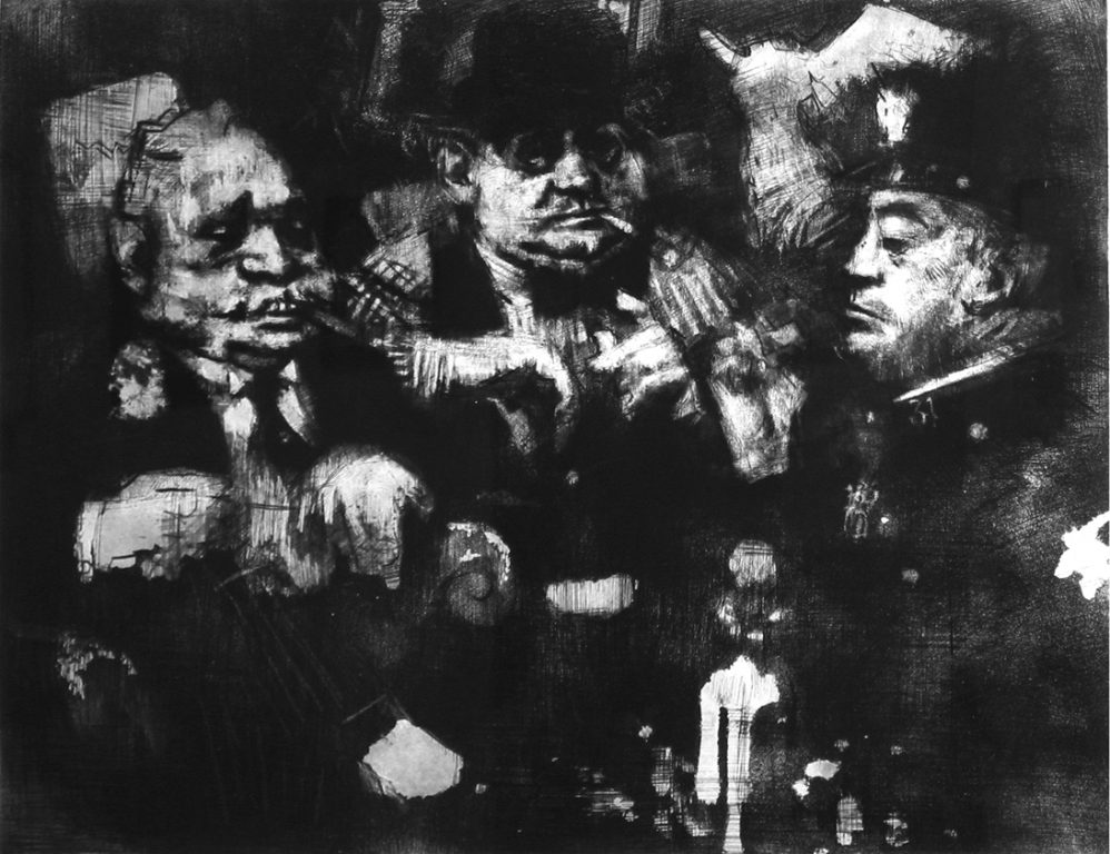 """Photo of Jack Levine's etching """"The Feast of Pure Reason."""" Artwork depicts three men: a policeman, a politician and a man of means huddled together."""
